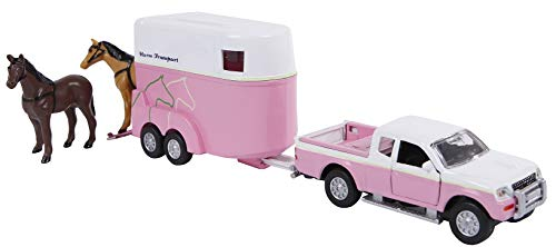 Van Manen Kids Globe Traffic 520124 Children's Toy Car and Horse Trailer Set Pink/White