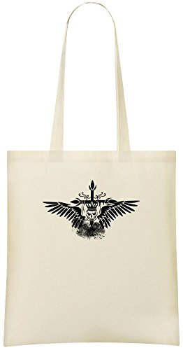 Kreuz Schädel Flügel Tattoo - Cross Skull Wings Tattoo Custom Printed Shopping Grocery Tote Bag 100% Soft Cotton Eco-Friendly & Stylish Handbag For Everyday Use Custom Shoulder Bags