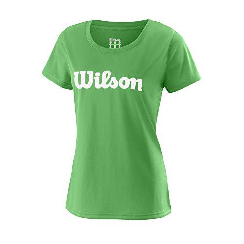 Wilson Mujer, W UWII SCRIPT TECH TEE, Camiseta de tenis manga corta, Poliéster, Verde (Andean Toucan)/Blanco, Talla XS, WRA770508
