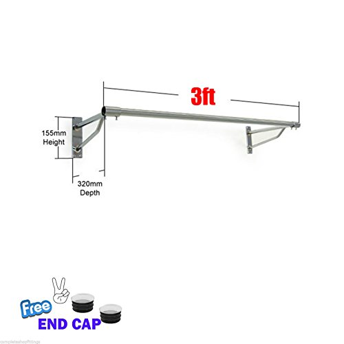Perchero para colgar en la pared, ideal para colgar ropa, de 91,44 cm a 304 cm, para tiendas y hogar, 3ft x 25mm TUBE & 2 BRACKETS