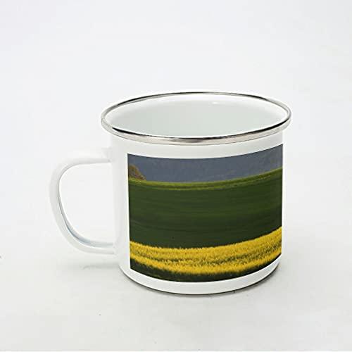 KittyliNO5 Taza de café esmaltada natural, con diseño de flores y campo, reutilizable y portátil, para casa, oficina, viajes, camping, color blanco, 350 ml
