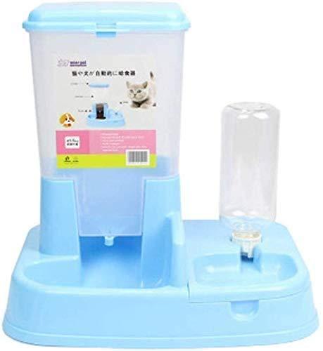 Dierbenodigdheden Pet Automatic Feeder Hond Kat voerautomaat Drinkwater kattenvoer Machine Voerbak Cat hondevoerkom Dog Food Security, Pink (Color : Blue)