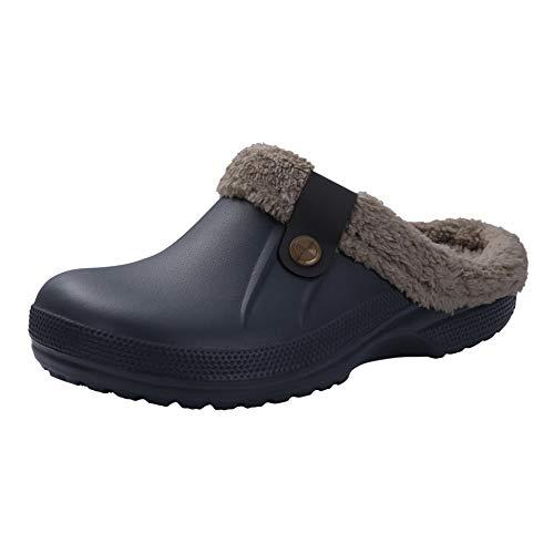 Classic Fur Lined Clog Waterproof Winter House Slippers for Women, Grey Women Size 8.5-9