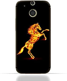 HTC ONE M8 TPU Silicone Case with Horse on Flame