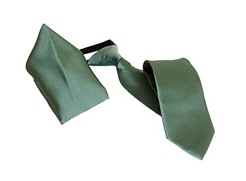 Cravatta verde - cravatta elastica verde - cravatta con fazzoletto da taschino - 51 * 8