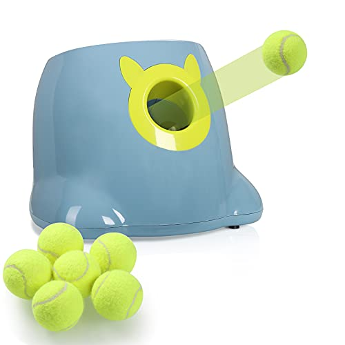 Dog Toy Automatic Ball Launcher, Interactive Ball Thrower for Dog, Adjustable Launch Distance, AC Power or Battery Operated (6pcs x 2' Balls Included)