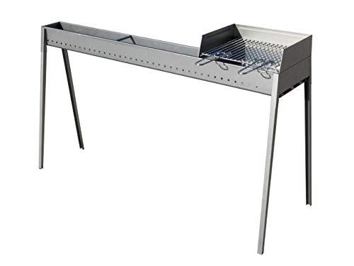 LISA s.r.l. Canaleta para asar asados con barbacoa, paratia y rejilla 100 + 40 cm Torino Grill de carbón de hierro