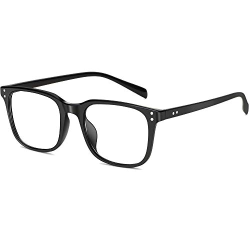 Blue Light Blocking Glasses for Men Women, Computer Gaming Glasses Anti-Glare, TR90 Lightweight Eyeglasses Square Frame (Black)
