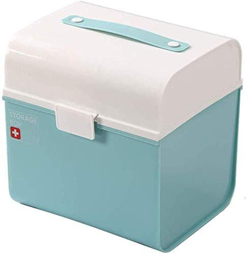 LLDKA Medizinbox, Boîte médicale Portable, boîte de médecine familiale, Armoire à Pharmacie, Trousse de Premiers Soins boîte de Rangement Enfants pour Medikamente2019,Bleu