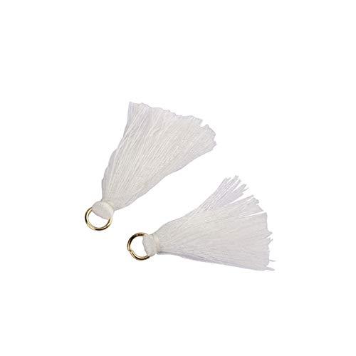 KSFBHC Mini Tassel Fringe Pendant Party Hanging Ring Cords Tassel Trim Garments Curtains Jewelry Decor Tassels Lace (Color : White Tassels, Size : 100Pcs)