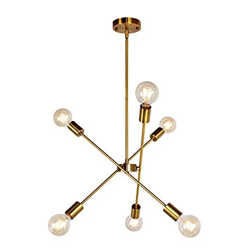 JHLBYL Moderno Lámparas de Araña de Oro 6 Luces E27 Iluminación Colgante de Metal, Sputnik Lámpara de Techo Lámpara de Salón con Brazo Ajustable