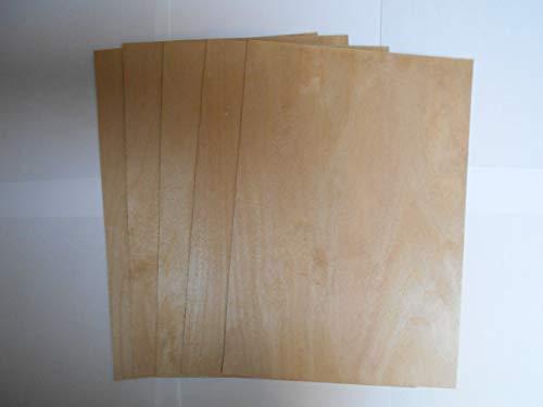Craft shapes Birkensperrholzplatten A4 0,8 stark Ideal für Pyrogaphie, Modellierung. basteln X 5