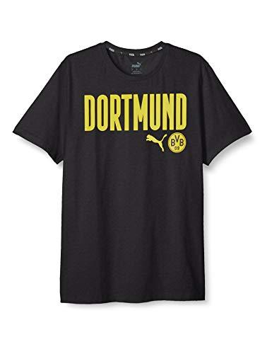 PUMA Herren BVB ftblCore Wording Tee T-Shirt, Black-Cyber Yellow, XL