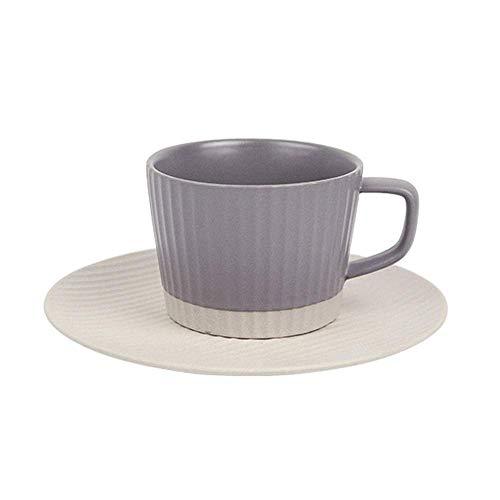WYZQ Juego de Tazas Taza y platillo con Rayas de cerámica esmerilada, vajilla, hogar, Oficina, Taza de té, Taza de Leche, Adecuada para microondas, lavavajillas, esterilizador, 200 ml (Gris), pl