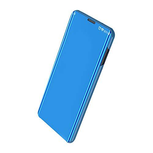 Funda Compatible con Xiaomi Mi 9/Mi 9 SE Carcasa Espejo Mirror Flip Caso Ultra Delgada Protector Shock Absorbing Caja del Teléfono Translucent Window View (Blue, Xiaomi Mi 9)