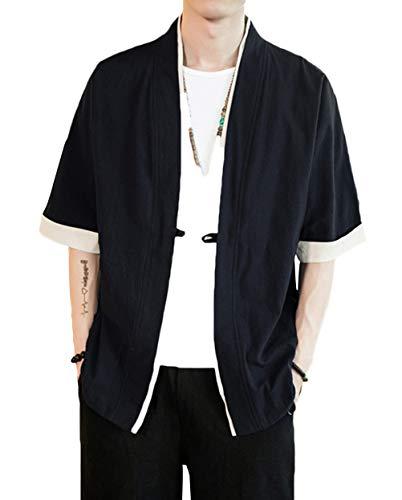 ULEEMARK Hombres Kimono Cárdigan Japonesa Informal Chaqueta