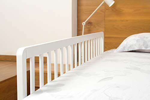 Geuther 2112 WE Bettschutzgitter aus Holz, variable, 140 cm, einfache Handhabung, sicherer Halt, weiß, 4.8 kg