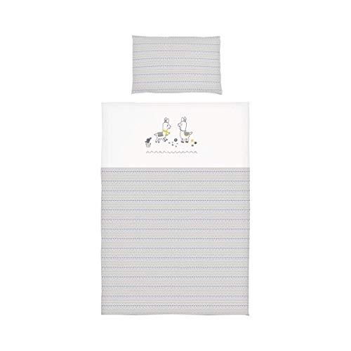 BORNINO HOME Parure de lit lama avec motif brodé 40x60 / 100x135 cm, blanc/gris