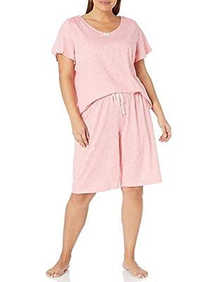 Karen Neuburger Women's Top and Bermuda Pant Bottom Pajama Set Pj, Ditsy Conch Shell, X-Large by Karen Neuburger