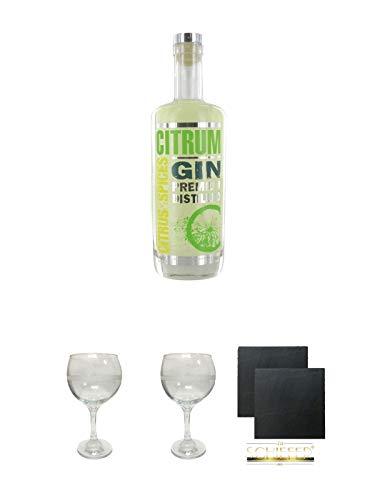 Citrum Gin Premium Distilled 0,7 Liter + The London Gin No 1 GIN Glas 1 Stück + The London Gin No 1 GIN Glas 1 Stück + Schiefer Glasuntersetzer eckig ca. 9,5 cm Ø 2 Stück