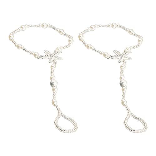 LPPL Pulsera tobillera de perlas con diseño de estrellas de mar y playa descalzo, tobillo, plástico,