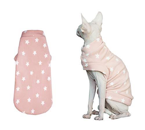 Khemn Designer-Strickpullover für Katzen, warm, mit dickem Flanell, Rosa