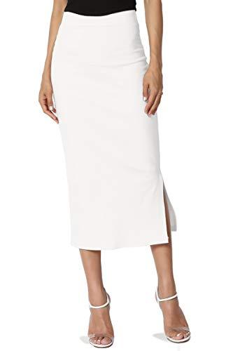TheMogan Women's Side Slit Ponte Knit High Waist Mid-Calf Pencil Skirt Off White S