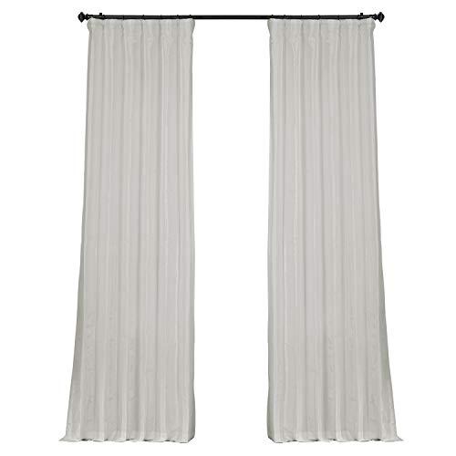 HPD Half Price Drapes PTCH-BO120-84 Blackout Faux Silk Taffeta Curtain (1 Panel), 50 X 84, Eggshell