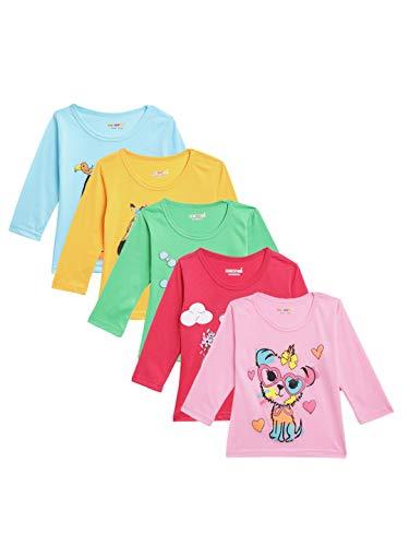 Kuchipoo Girls' Cotton T-Shirt (Multi-Colored, Pack of 5)