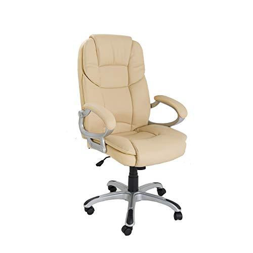Notek Srl Poltrona Regolabile e Girevole da Ufficio Presidenziale direzionale ergonomica - Modello Silky in Ecopelle Colore Beige