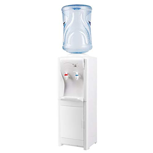 Top Loading Water Cooler Dispenser 5 Gallon, Hot & Cold Water Stand Machine with Storage Cabinet for Home Kitchens, Offices, Dorms (White)
