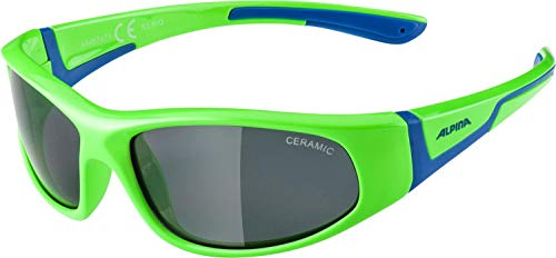 ALPINA Unisex - Kinder, FLEXXY JUNIOR Sportbrille, neon green-blue, One Size