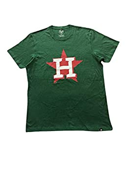 47 Brand Men s T-Shirts Houston Astros MLB T-Shirt Cotton/Polyester Blend  Green/Red Heritage Club Large