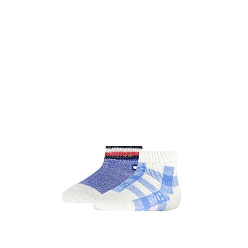 Tommy Hilfiger Baby-Boys Plaid Check (2 Pack) Socks, Blue Combo, 19/22