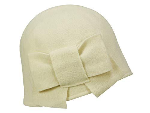 Seeberger Litika Wintermütze Walkmütze mit Schleife Walkhut Damenmütze (One Size - cremeweiß)