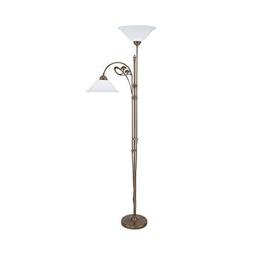 Iris Messing Glas Stehleuchte in Weiß, Opal weiß antikmessing | Handarbeit Qualität aus deutscher Manufaktur | Stehlampe Klassisch Dimmbar | Lampe E27
