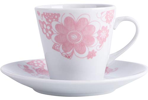 Almina | 12 Teilig | Türkisches Kaffeeset | Mokkatassen | Porzellan | 75ml | Rosa | Weiß |