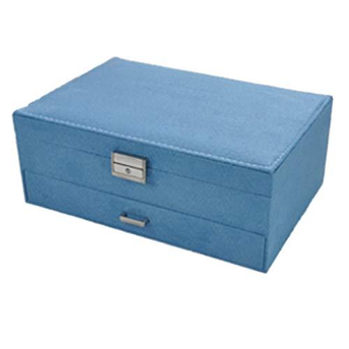 Fauge Caja de Joyería de Terciopelo de Moda Caja de Almacenamiento de Pendientes de Múltiples Capas Caja de Almacenamiento de Joyería de 2 Capas Maleta de Gama Alta Azul Claro