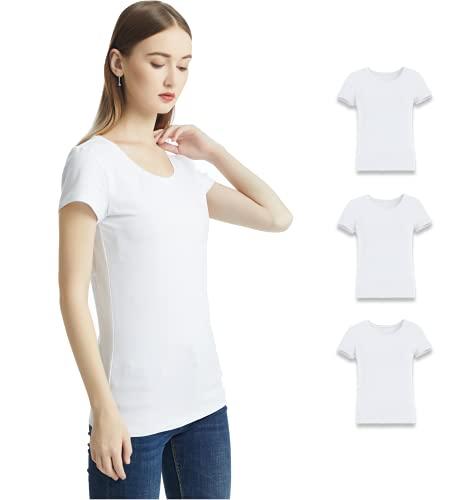 KELOYI Camisetas Mujer Blusas Mujer Justada Blanco Manga Corta Verano Cuello Redondo Basica Ropa Mujer Verano 2021 Pack de 3 L