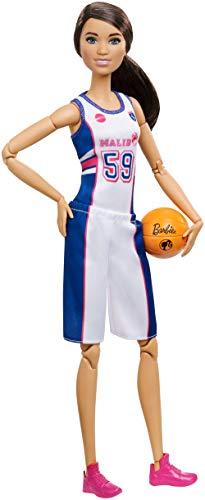 Barbie FXP06 - Made to Move Basketballspielerin Puppe, bewegliche Puppe mit 22 Gelenken, Puppen Spielzeug ab 3 Jahren