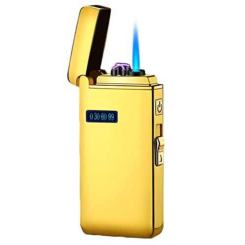 GvvcH Encendedor Electrico Encendedor de Gas 2 en 1 Encendedor de Llama de Arco y Chorro Butano Recargable y Recargable USB Multifuncional para Cigarros BBQ Cocina al Aire Libre,Gold
