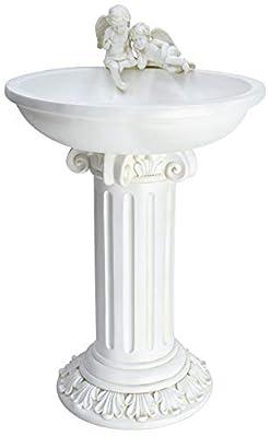 MP Essential Solar Cherub Angel Birdbath Table Garden Grave Home Bird Bath Water Fountain