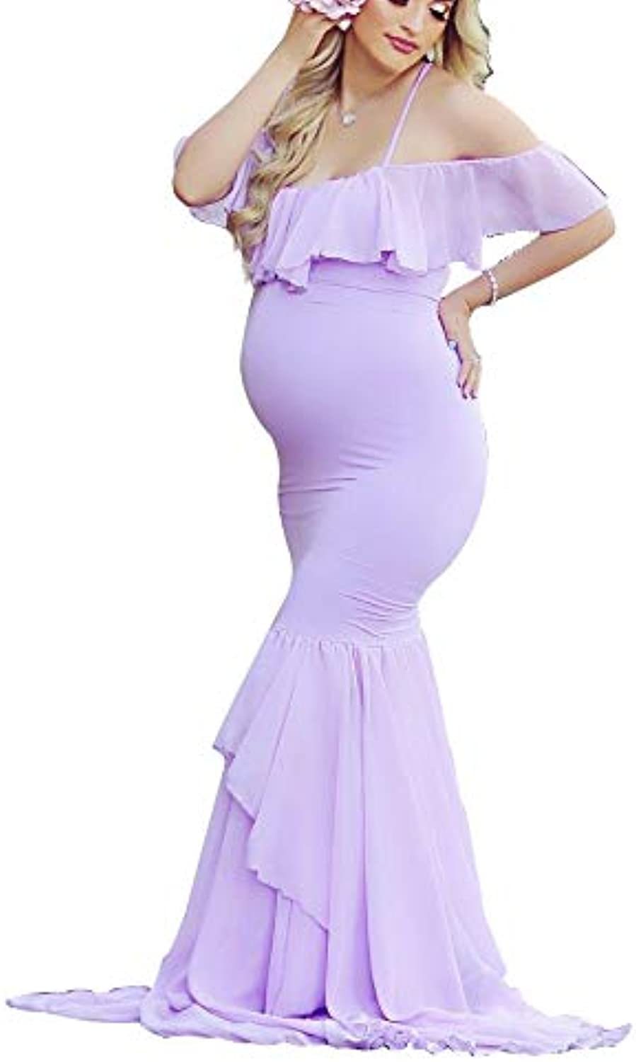 Maternity Dress Off Shoulder Sleeveless Slim Long Maternitys Fitted Flare Ruffles Sleeve Fit Gown Pregnant Women Maxi Photography Dress Gown Mermaid,Purple,XL