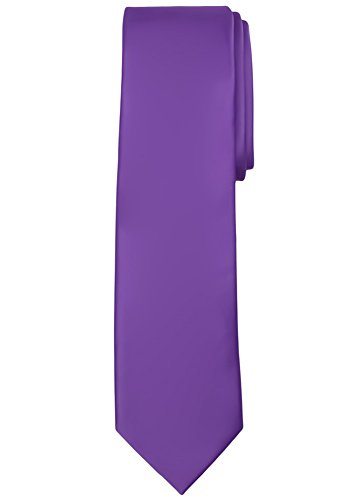 Jacob Alexander Men's Extra Long Solid Color Tie - Purple
