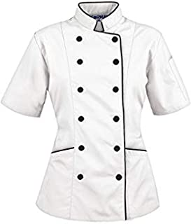 Short Sleeves Women's Ladies Chef's Coat Jackets By Chef's Apparels (M (For Bust 36-37), White)