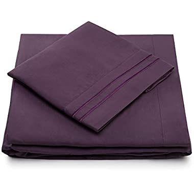 Split King Bed Sheets - Purple Luxury Sheet Set - Deep Pocket - Super Soft Hotel Bedding - Cool & Wrinkle Free - 2 Fitted, 1 Flat, 2 Pillow Cases - Plum SplitKing Sheets- 5 Piece