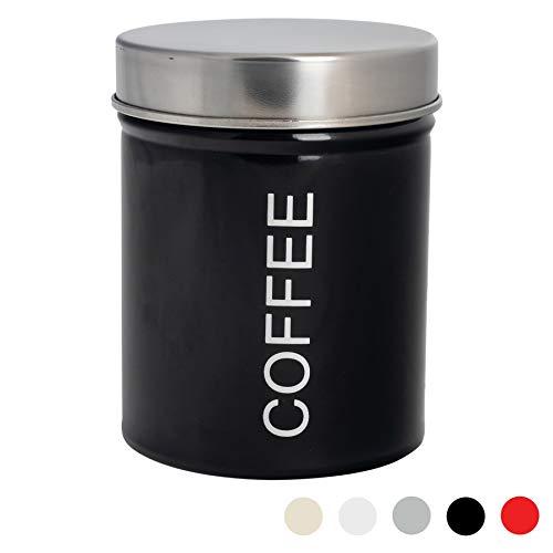 Harbour Housewares Contemporánea Café Bote - Acero cocina para guardar Caddy con sello de caucho - Negro - 10cm