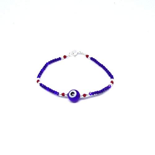 Personaliza plata - Pulsera Ojo Turco Cristal Swaroski Azul, Bolas de Plata Ley y Cierre de Plata