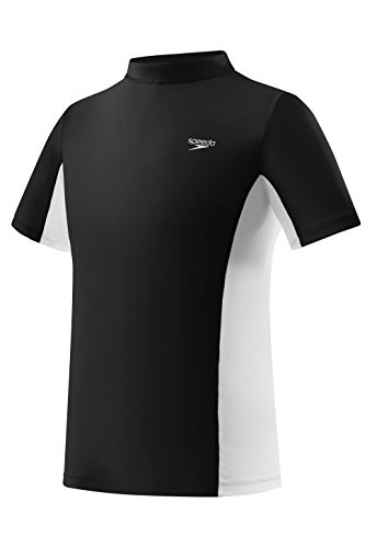Speedo Unisex-Child Uv Swim Shirt Short Sleeve Color Block Rashguard - Manufacturer Discontinued