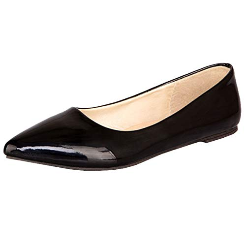 LUXMAX Scarpe Basse Donna Ballerine Senza Tacco Piatto Decolte Vernice Slip On Pumps Flat Heels Shoes Comode (Nero) - 37 EU